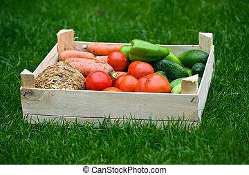 蔬菜, 箱子, 草