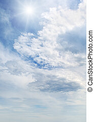 sun on blue sky with white clouds - sun on blue sky with...