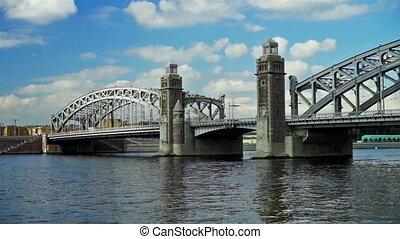 Bolsheokhtinsky bridge on Neva river in Saint Petersburg, Russia - panoramic view