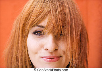 Woman with exasperated expression - Young redheaded woman...