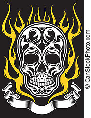 Ornate Flame Skull - fully editable vector illustration of...