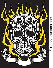 Ozdobny, płomień, czaszka