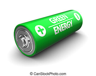 green battery - 3d illustration of green battery over white...
