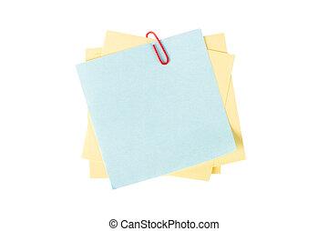 Sticky Posts with Paper Clip - Blank, empty sticky posts...