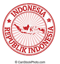 Indonesia stamp - Grunge rubber stamp with the name and map...