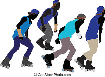 roller skaters collection - vector - illustration of roller...