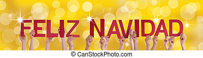 Hands Holding Feliz Navidad with Golden Background - Many...