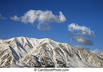 Mountain peaks - Aerial landscape of snow covered mountain...