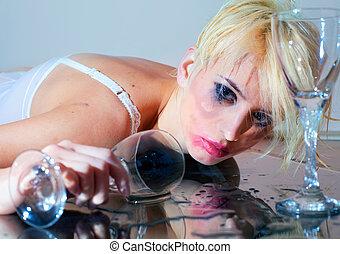 ivre, femme, verre