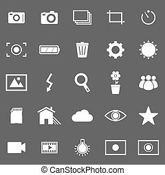 Photography icons on gray background, stock vector