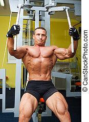 músculo, Dado forma, homem, exercício,...