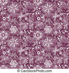 Seamless purple-white vintage pattern with flowers and...