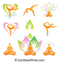 Yoga icons symbols - Icons of yoga positions, meditation and...