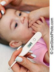 enfermo, bebé, ser, comprobado, fiebre