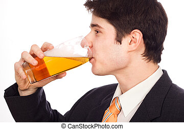 Young man drinking beer - isolated on white