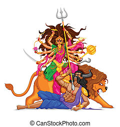 Happy Dussehra with goddess Durga - illustration of goddess...