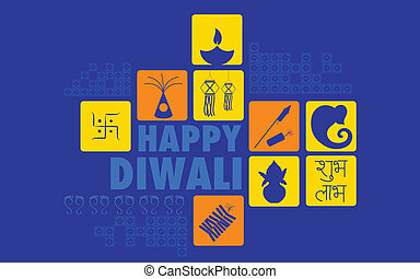 Happy Diwali - illustration of Happy Diwali background with...