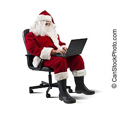 Modern Santa Claus with laptop - Concept of modern Santa...
