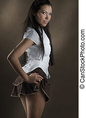 up skirt - young and nice girl with white shirt and up brown...