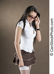white stocking - pretty girl with white shirt brown short...