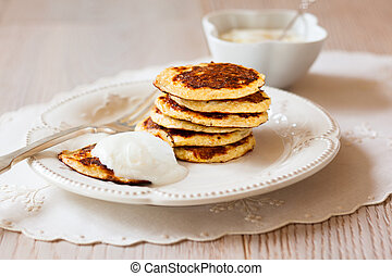 Oat Bran Pancake with yogurt