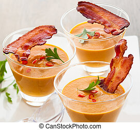 pumpkin soup in glasses - pumpkin soup with bacon in glasses...