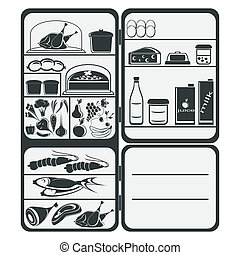 Refrigerator - The refrigerator with food on a white...