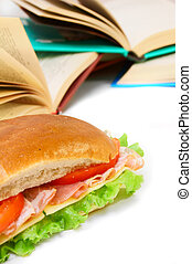 Sandwich and books on the white.