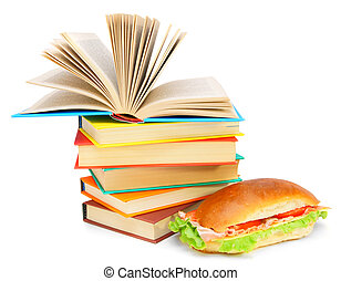 Sandwich, and books on a white background.