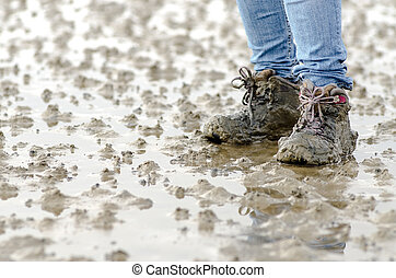 walk across the mudflats at the North Sea