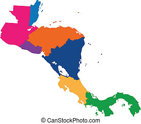 Central America map with country borders