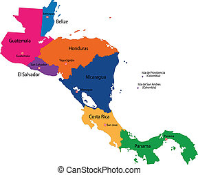 Central America map - Map of Central America map with...