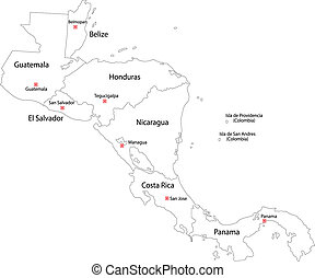 Contour Central America map with country borders