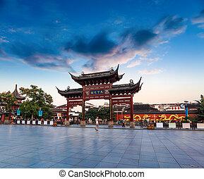 nanjing confucius temple at dusk - memorial arch in nanjing...