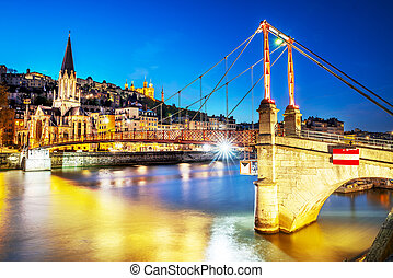 Lyon by nigt with lights - night view from St Georges...