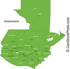 Green Guatemala map with department borders