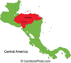 Honduras map - Location of Honduras on Central America