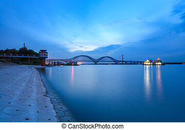 nanjing dashengguan bridge in nightfall - nanjing...