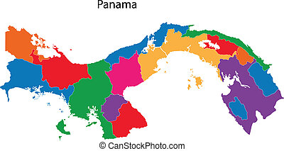 Panama map - Map of the Republic of Panama with the...