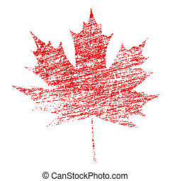 Grunge Maple Leaf - Red maple leaf in abstract grunge...