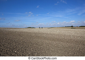 cultivated chalky soil - a cultivated chalky field with...