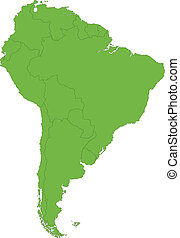 Green South America map with country borders