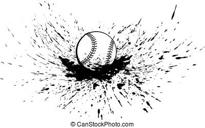 Baseball or Softball with Splatter - Black and white vector...