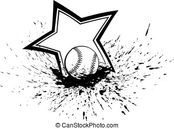 Baseball or Softball Splatter Star