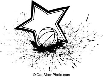 Basketball with Splatter & Star
