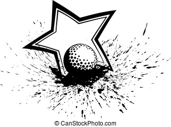 Golf Ball with Splatter & Star