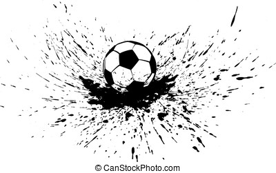 Soccer Ball with Splatter - Black and white vector...