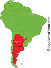 Argentina map - Location of Argentina on the South America