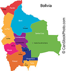 Bolivia map - Colorful Bolivia map with regions and cities