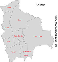 Grey Bolivia map with regions